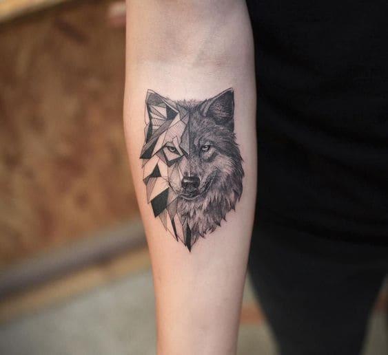 ảnh tattoo chó sói đơn giản