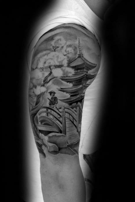 hình xăm chùa đẹp ở bắp tay nam