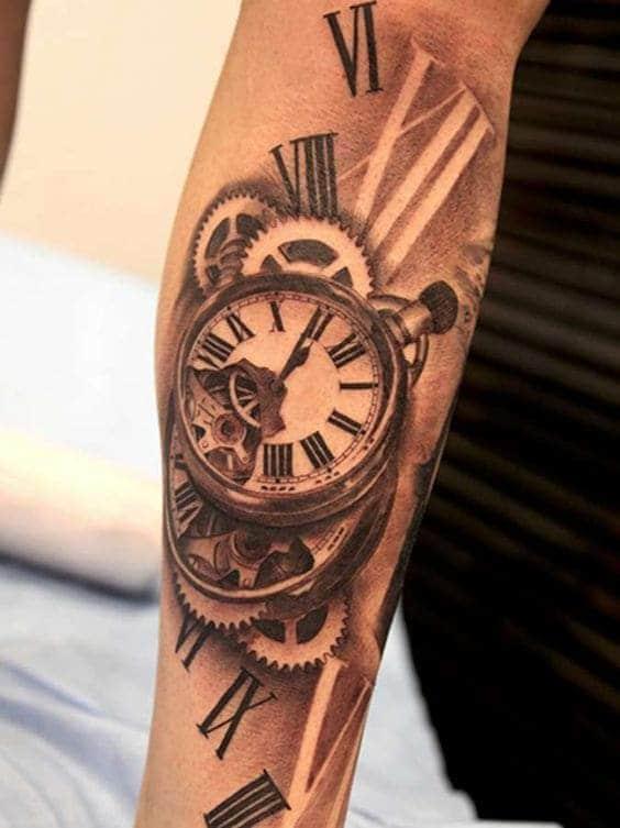 hình xăm đồng hồ la mã cực đẹp cho con trai