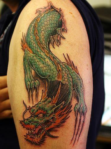 hình xăm dragon đẹp cho nam ở bắp tay