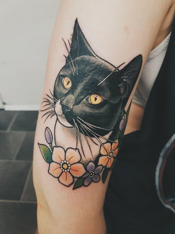 hình xăm mèo đen cho nữ