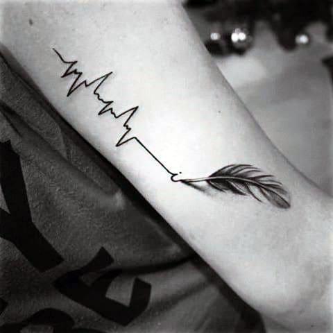 hình xăm nhịp tim trên tay đẹp