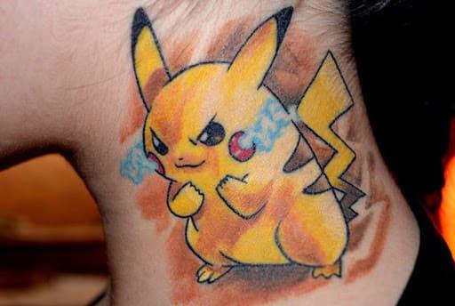 mẫu ảnh tattoo pikachu ở cổ nữ