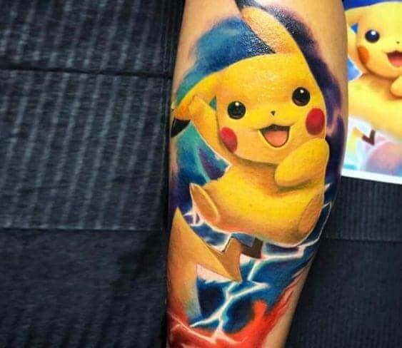 mẫu hình ảnh pikachu tattoo ở bắp chân