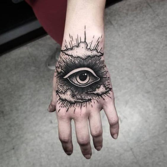 mẫu hình tattoo con mắt đẹp ở trên bàn tay