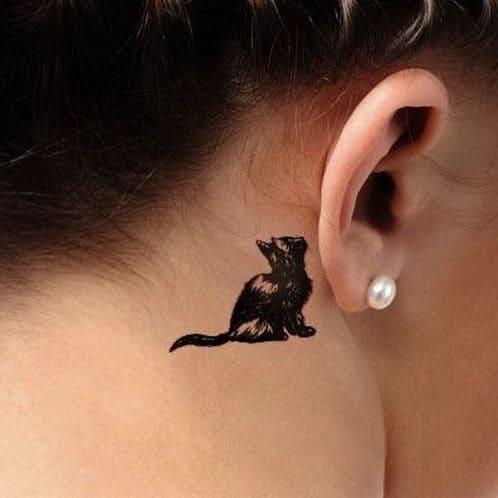 mẫu hình tattoo con mèo đen