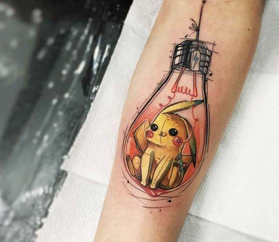 mẫu hình tattoo con pikachu tuyệt đẹp và ngộ nghĩnh