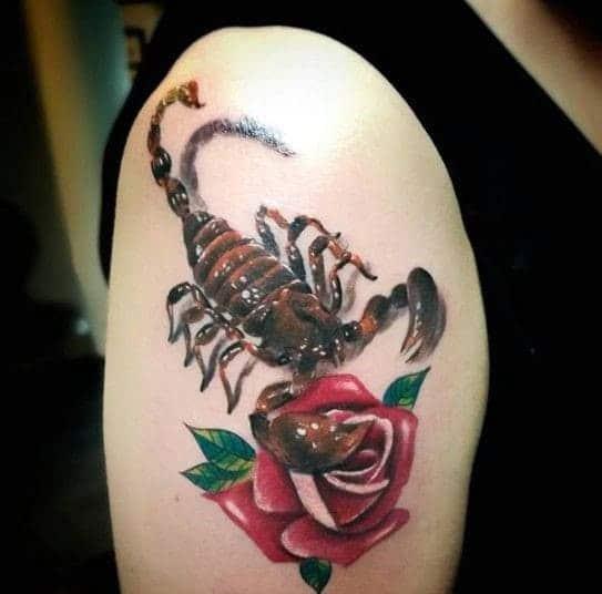 mẫu tattoo 3d bọ cạp và hoa hồng