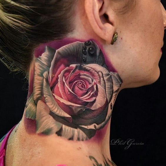 mẫu tattoo 3d hoa hồng cho nữ