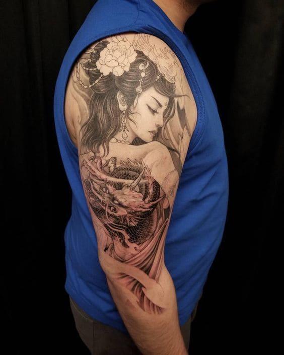 mẫu tattoo cô gái trung hoa ở bắp tay nam