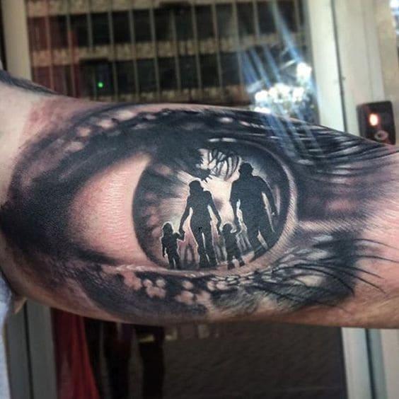 mẫu tattoo con mắt 3d hình gia đình