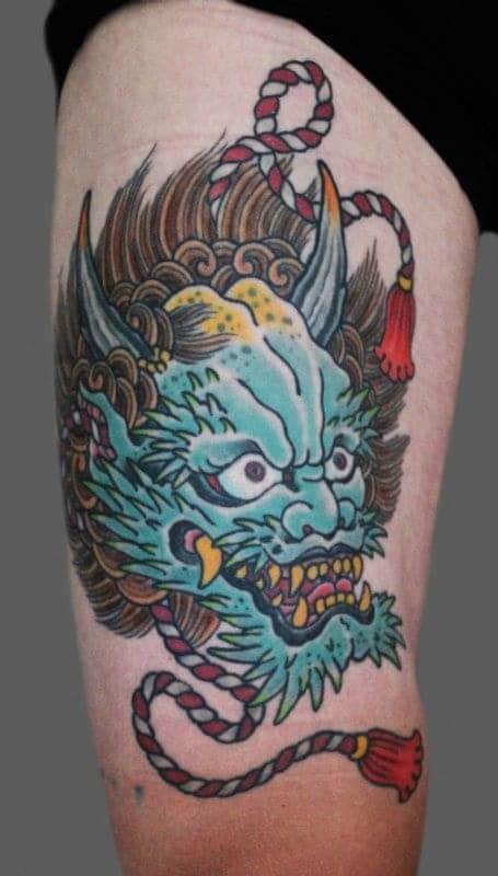 mẫu tattoo đầu rồng trên đầu gối đẹp