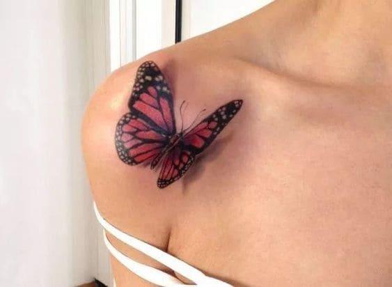 mẫu tattoo hình bướm 3d cho nữ