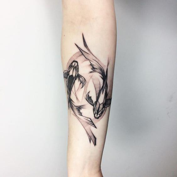 mẫu tattoo hình cá chép đơn giản