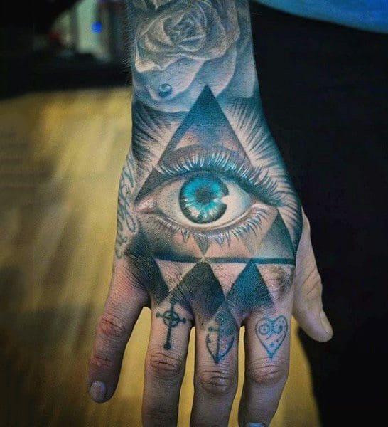 mẫu tattoo hình con mắt xanh long lanh