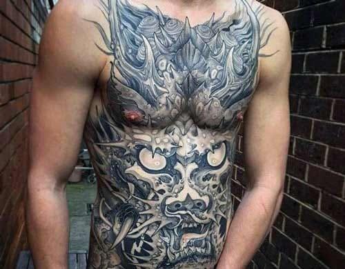 mẫu tattoo hình đầu rồng kín bụng