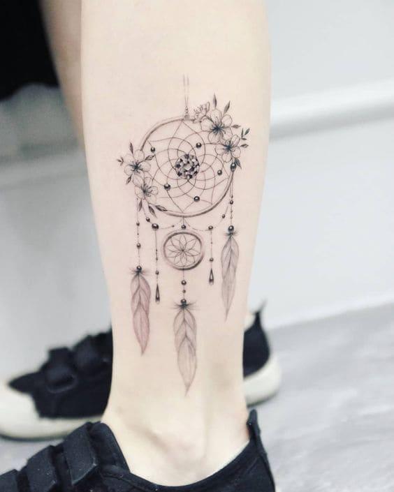 mẫu tattoo hình dream catcher mini