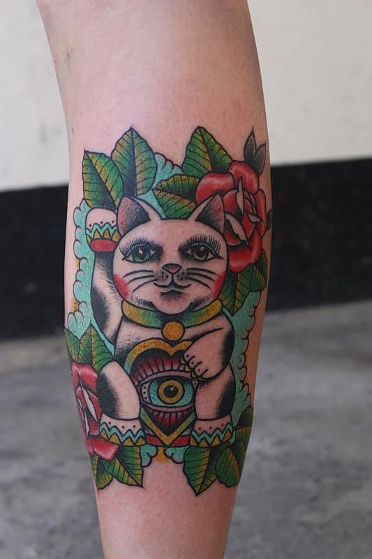 mẫu tattoo hình mèo thần tài cực đẹp