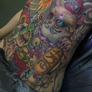 mẫu tattoo hình mèo thần tài kín bụng cực ngầu