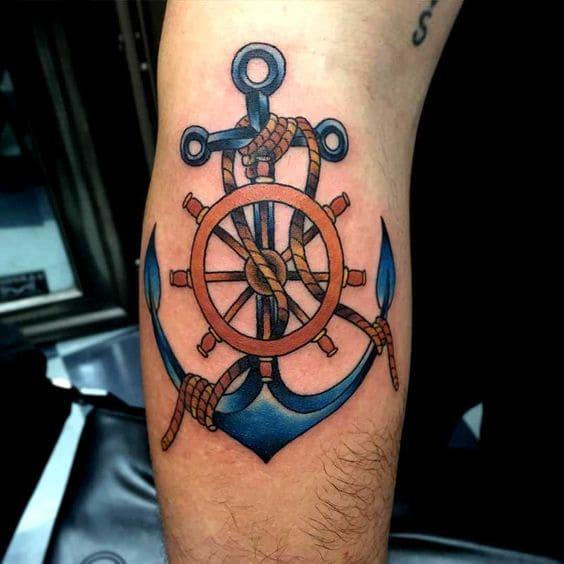 mẫu tattoo hình mỏ neo và bánh lái đẹp
