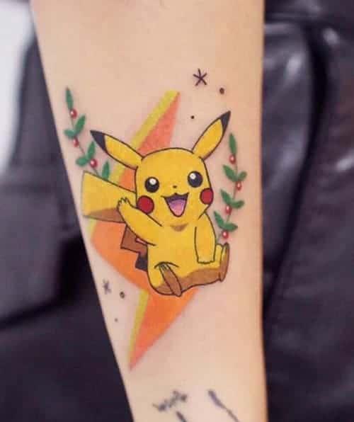mẫu tattoo hình pikachu đáng yêu cho con gái
