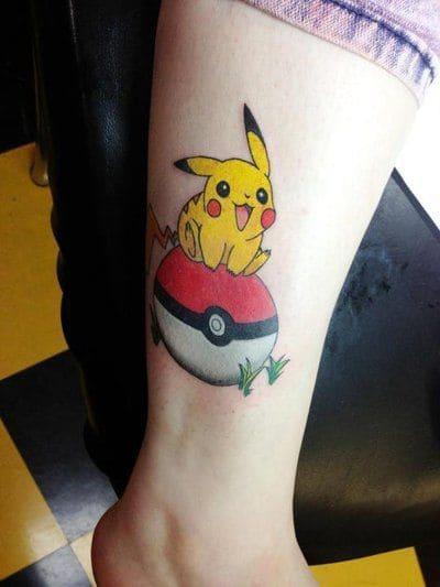 mẫu tattoo hình pikachu đáng yêu dễ thương