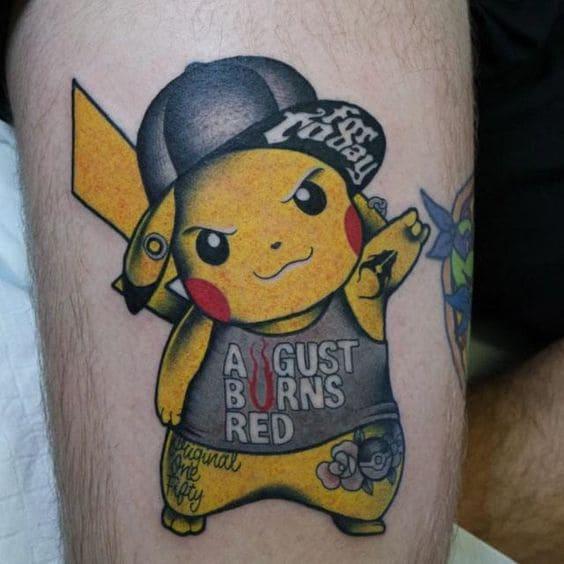 mẫu tattoo hình pikachu mặt ngầu cho nam