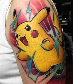 mẫu tattoo hình pikachu ở bắp tay con trai