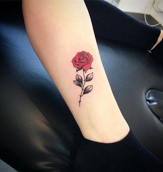 mẫu tattoo hoa hồng mini trên bắp chân con gái