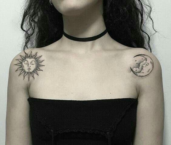 mẫu tattoo mặt trăng mặt trời trên vai phái đẹp