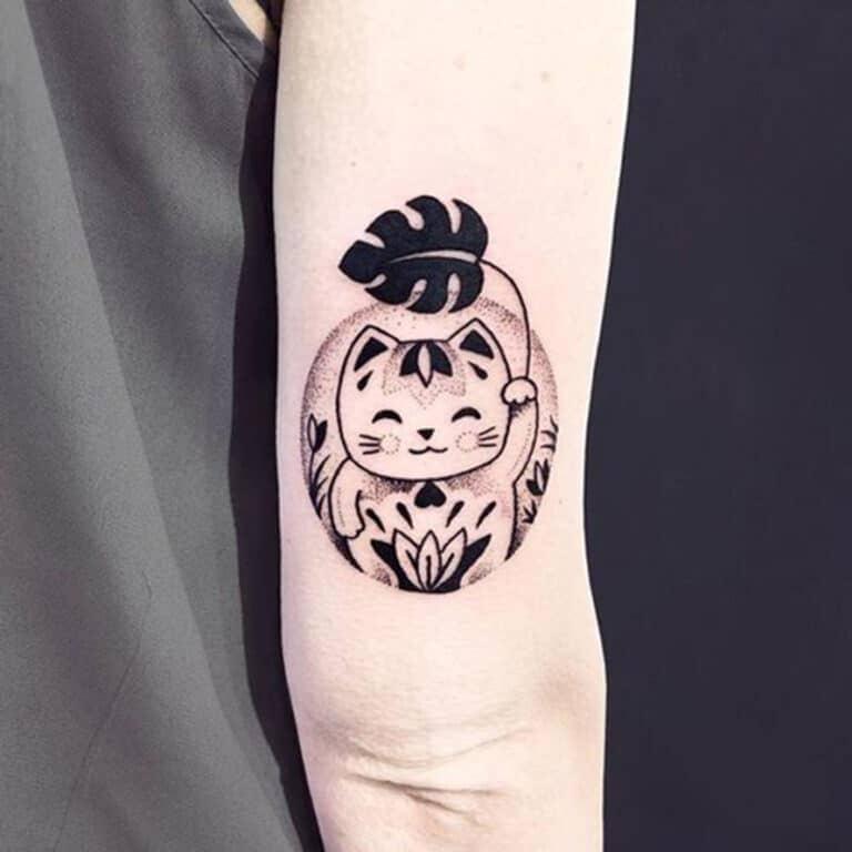 mẫu tattoo mèo mini đáng yêu