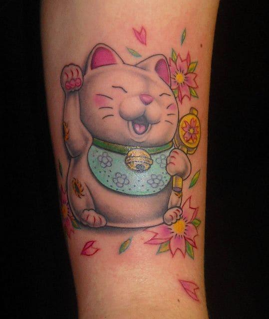 mẫu tattoo mèo thần tài cute