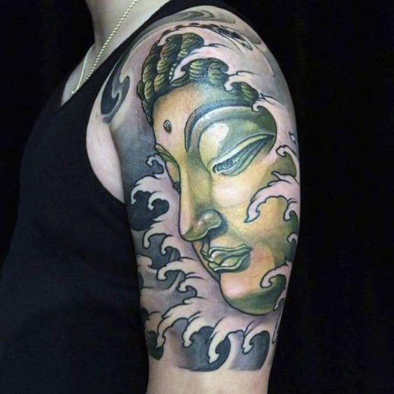 mẫu tattoo phật ở bắp tay cho nam đẹp