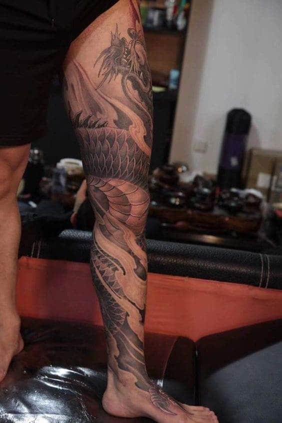 mẫu tattoo rồng kín chân cực ngầu