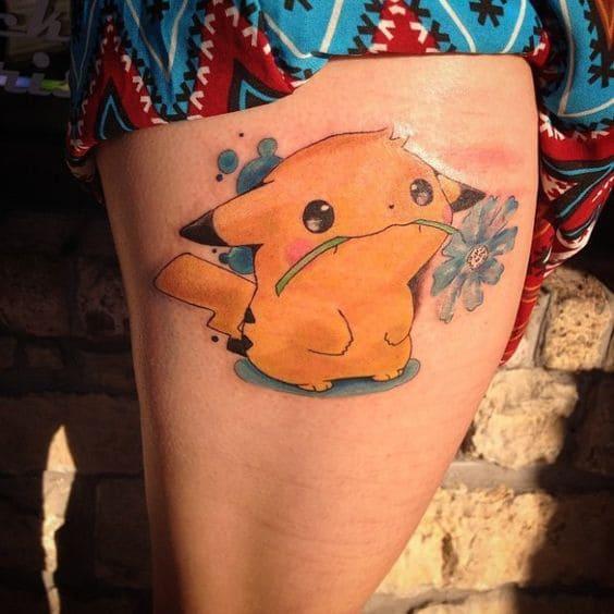 mẫu tattoo xăm pikachu cho nữ ở chân đẹp