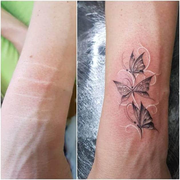 mẫu xăm che sẹo ở cánh tay cho nữ