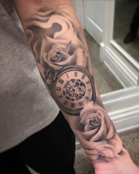 mẫu xăm đồng hồ hoa hồng đẹp