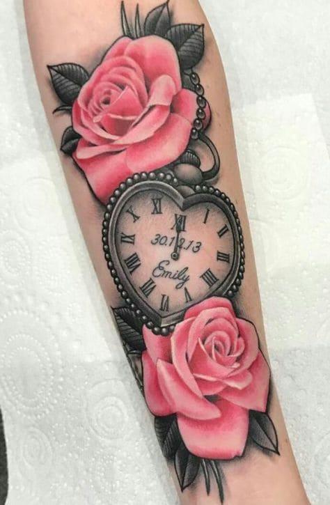 mẫu xăm hình đồng hồ trái tim đẹp cho nữ