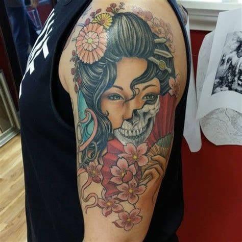 tattoo cô gái trung hoa mặt quỷ đẹp