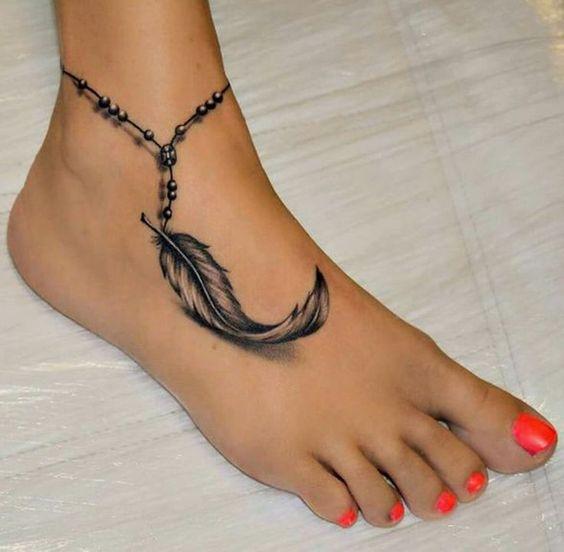 tattoo hình lông vũ 3d đẹp ở chân
