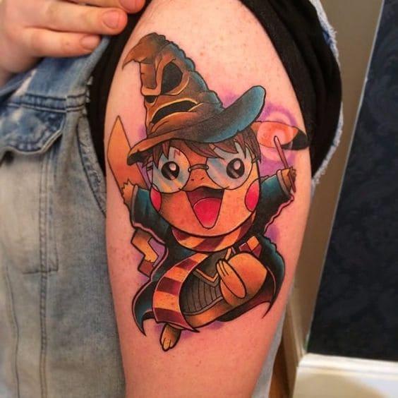 tattoo hình pikachu ngộ nghĩnh trên bắp tay