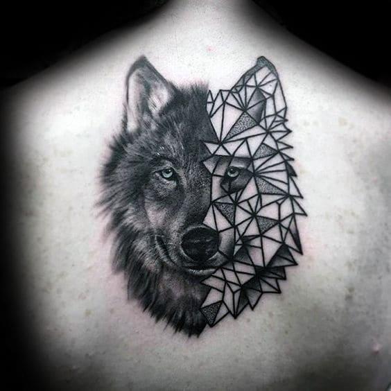 xăm chó sói hoa văn đẹp
