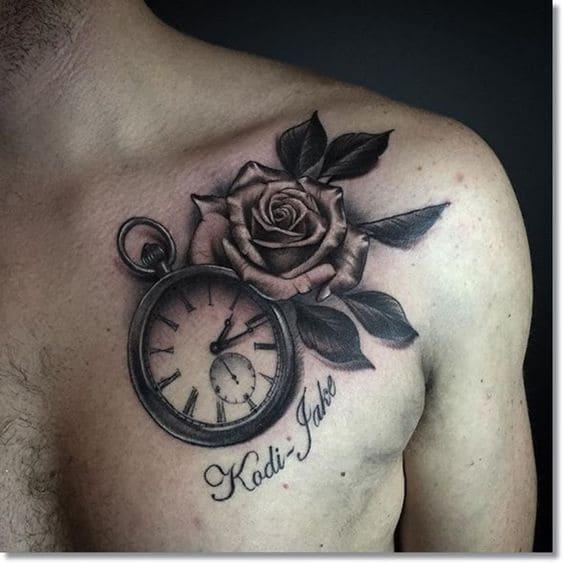 xăm đồng hồ ở ngực cho nam