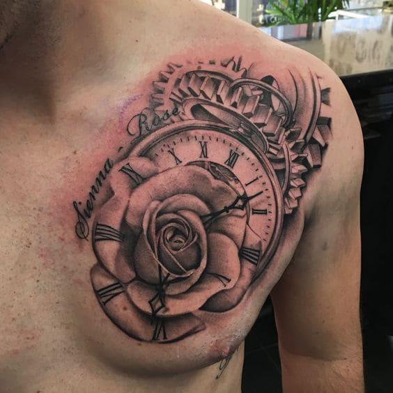 xăm đồng hồ và hoa hồng đẹp