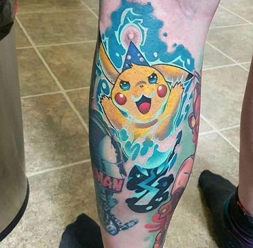 xăm pikachu ở bắp chân nam