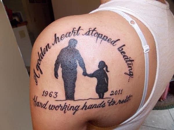 Ảnh xăm cha và con gái thật đẹp và ý nghĩa