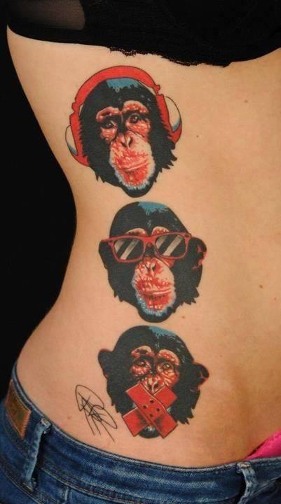 Bộ ba tattoo đầu khỉ có màu đẹp cho nữ
