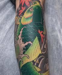 Hình tattoo cá chép màu xanh lá cây độc lạ