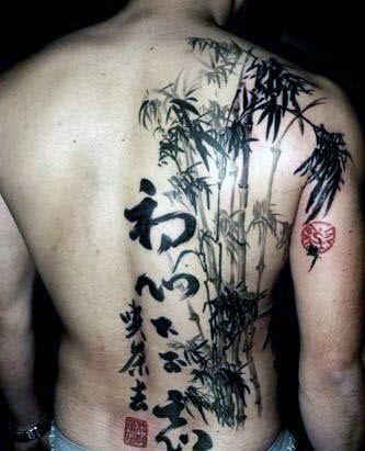 Hình tattoo cây tre cây trúc ở nửa lưng
