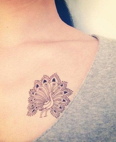 Hình tattoo chim công mini nhỏ xíu